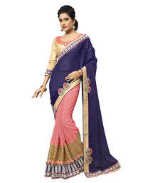 Buy purple embroidered faux georgette saree With Blouse half-saree online