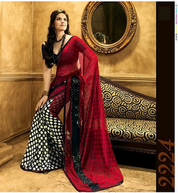 Black & White With Red Georgette Zareen Khan Saree 2224