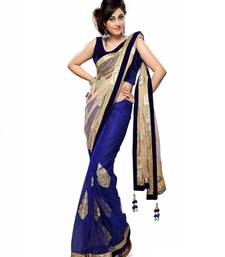 Buy blue printed Net saree With Blouse net-saree online