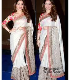 Buy white embroidered satin saree With Blouse tamanna-bhatia-saree online