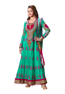 Fabdeal Party Wear Turquiose Colored Pure Georgette Salwar Kameez