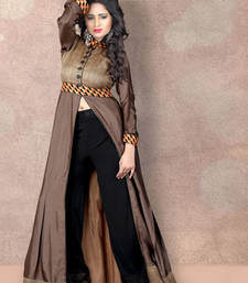 Buy Grey pure silk printed stitched kurti kurtas-and-kurti online