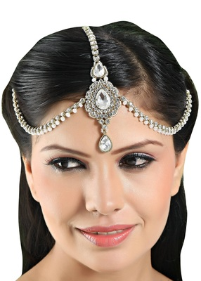 Stylish Handmade Design Matha Patti For Wedding Gold Finishing in White