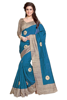 turquoise printed bhagalpuri silk saree With Blouse