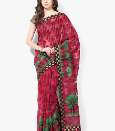 Buy pink woven super net saree With Blouse supernet-saree online