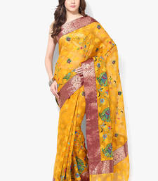 Buy yellow woven super net saree With Blouse supernet-saree online