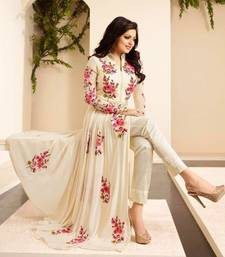 Buy Beige georgtte embroidered semi stitched salwar with dupatta party-wear-salwar-kameez online