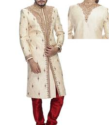 Buy Beige silk wedding sherwani wedding-sherwani online