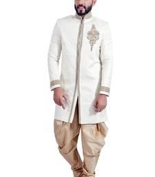 Buy off white brocade printed handwork indo western dresses indo-western-dress online