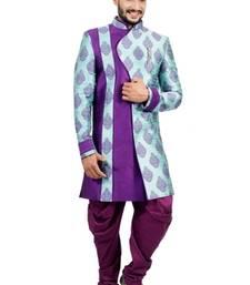 Buy island lagoon with purple brocade printed indo western dresses indo-western-dress online