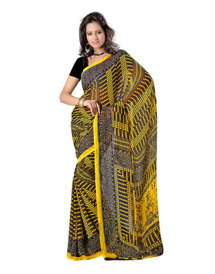 Yellow & Black Colored Faux Georgette Saree