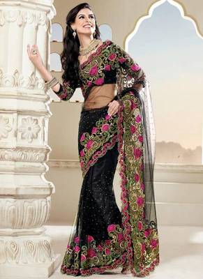 Beautiful Black Net Saree with Blouse Pc
