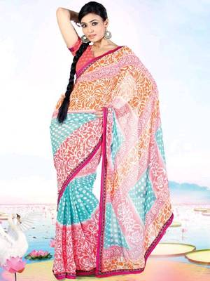 Kalazone Red,Green,Orange Faux Georgette Flower Print Saree WS20651