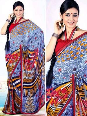 Kalazone Multi colored Faux Georgette Flower Print Saree WS20654
