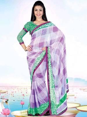 Kalazone Green,Purple Faux Georgette Geometric Print Saree WS20677