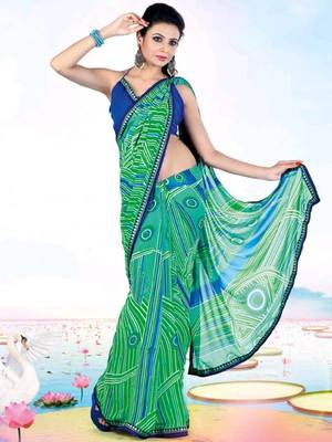 Kalazone Green,Blue Faux Georgette Geometric Print Saree WS20679