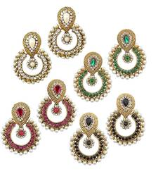Buy Pearl traditional ethnic indian four pair earring hoop online