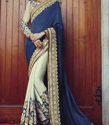 Buy Blue and White embroidered georgette saree With Blouse wedding-saree online