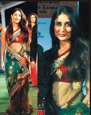 Net-Tessar Silk Greenis- Black Saree with Unstitched Inner/ Petticoat Blouse