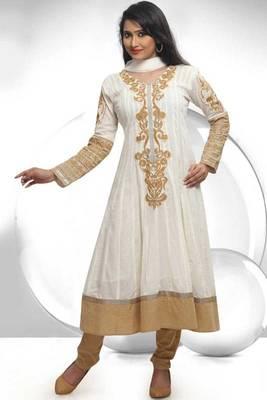 Off-white Cotton Readymed Embroidered Festival Anarkali Kameez