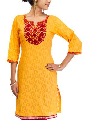Cotton Jacquard embroidered kurti - Yellow Color 1408