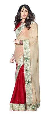 Triveni Stupendous Indian Traditional Bridal Wear Faux Georgette Ethnic Saree