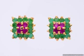 BEAUTIFUL STONE STUDDED SQUARE TOPS/EARRINGS/STUDS (RUBY EMRALD) - PCE1018
