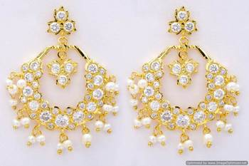 ROYAL STONE STUDDED REAL PEARL DROPS CHAAND BAALI/HANGINGS/EARRINGS (AD) - PCE1046