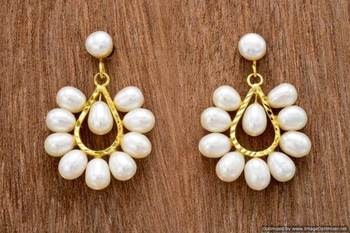 UNIQUE REAL PEARLS TOPS/HANGINGS/EARRINGS FROM HYDERABAD (OVAL) - PCE1059