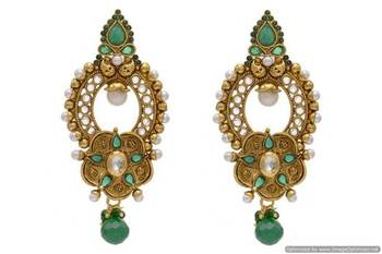 ANTIQUE GOLDEN STONE STUDDED EARRINGS/HANGINGS (GREEN)  - PCAE2023