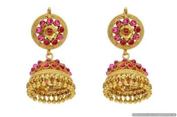 ANTIQUE GOLDEN TRADITIONAL STONE STUDDED EARRINGS/HANGINGS (POTA RED)  - PCAE2078