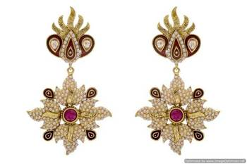 ANTIQUE GOLDEN STONE STUDDED POLKI PEARL WORK EARRINGS/HANGINGS (RED)  - PCAE2198