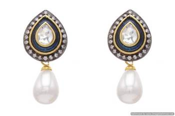 AD STONE STUDDED DROP SHAPED MEENA EARRINGS/HANGINGS (GREEN PEARL)  - PCFE3038