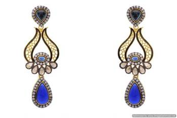 AD STONE STUDDED ELEGANT DROP EARRINGS/HANGINGS (BLUE)  - PCFE3070