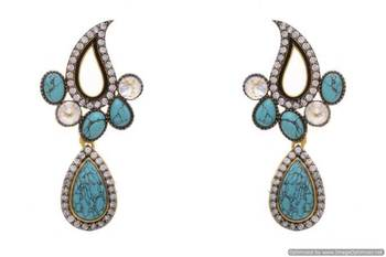 AD STONE STUDDED KAIRI SHAPED PAN DROP EARRINGS/HANGINGS (TURQUOISE)  - PCFE3109