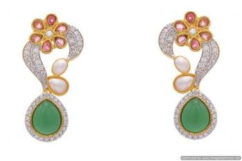 AD STONE STUDDED FLOWER STYLE PAN SHAPE DROP  EARRINGS/HANGINGS (RED GREEN)  - PCFE3138