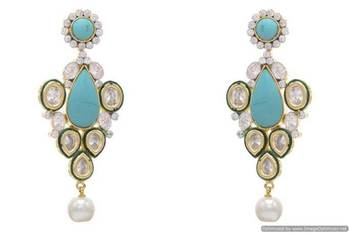AD STONE STUDDED ROYAL POLKI STYLE  EARRINGS/HANGINGS (TURQUOISE)  - PCFE3160