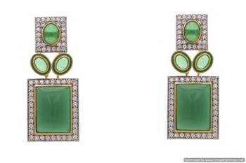 AD STONE STUDDED EARRINGS/HANGINGS (GREEN)  - PCFE3173