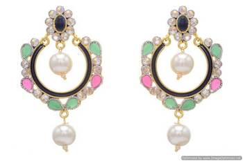 AD STONE STUDDED ROUND MEENA WORK CHAAND BAALI EARRINGS/HANGINGS (RED GREEN BLUE)  - PCFE3179
