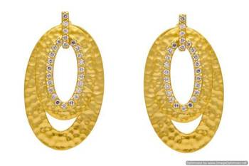 AD STONE STUDDED OVAL SHAPED MATT GOLD FINISHED EARRINGS/HANGINGS (AD)  - PCFE3257