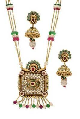 ANTIQUE GOLDEN STONE STUDDED HANDMADE JAALI PEARL WORK LOCKET/PENDANT SET (AD RED GREEN)  - PCPS7007