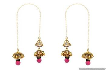 ANTIQUE GOLDEN STONE STUDDED PAN SHAPE STYLE KASHMIRI JHUMKA/HANGINGS (RED GREEN)  - PCKJ12021
