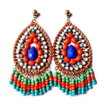 Orange and Multicolor Designer Earrings