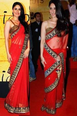 Kareena Red Rose Bollywood Replica Saree
