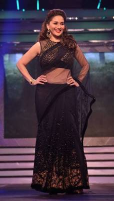 Madhuri Dixit Black Diamond Bollywood Replica Saree