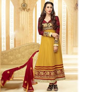 Red and Mustard Designer Anarkali Suit