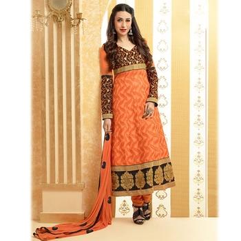 Black and Orange Designer Anarkali Suit