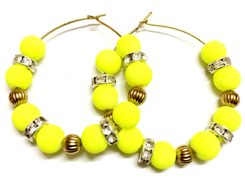 Neon Lemon and golden Moti Earrings