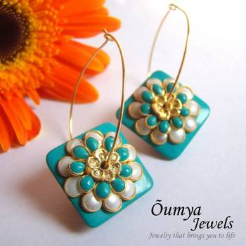 Double sided Rombic Paachi Flower Earrings