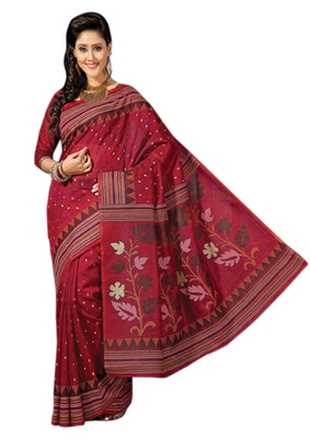 Triveni Sophisticated Maroon Colored Cotton Printed Indian Traditional Saree